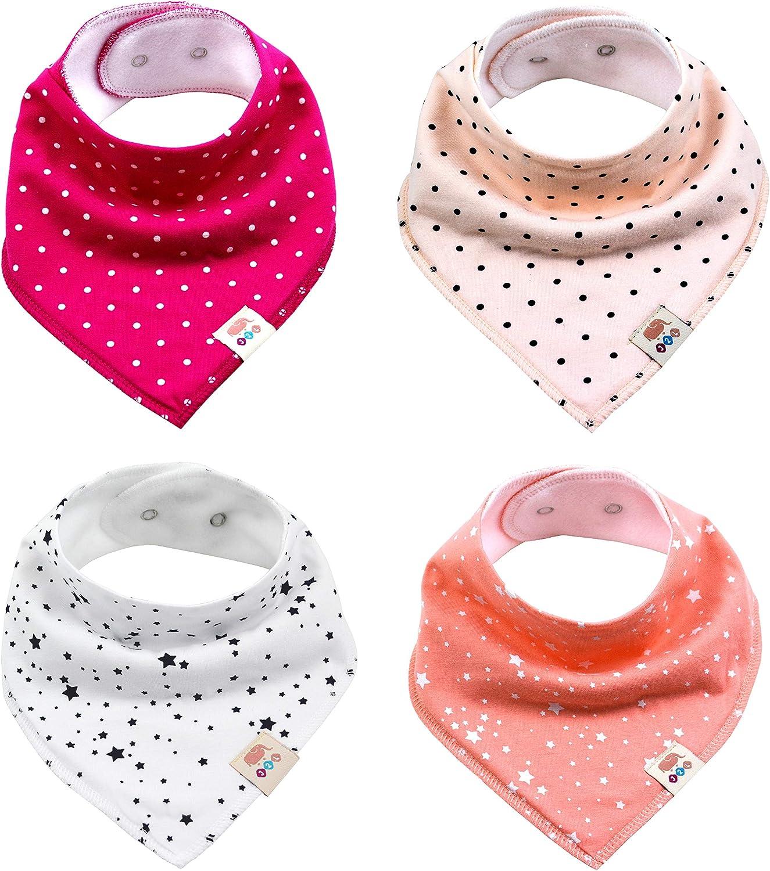Lot de 4 foulards triangulaires en coton unisexe avec boutons pression r/églables pour b/éb/é gar/çon et fille