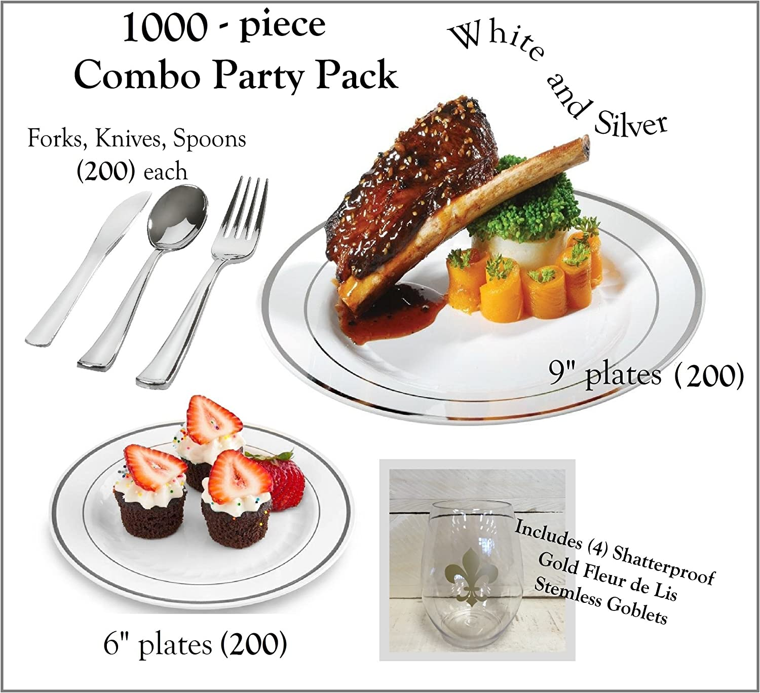 1000 Pieces Plastic China Plate Silverware Combo for 200 people WHITE with Silver Bands