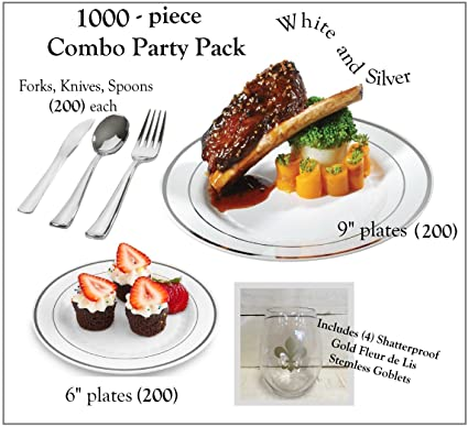 1000 Pieces Plastic China Plate Silverware Combo for 200 people WHITE with SILVER Reflection Masterpiece Like  sc 1 st  Amazon.com & Amazon.com: 1000 Pieces Plastic China Plate Silverware Combo for 200 ...