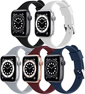 [5 Pack] Liuxixi Silicone Bands Compatible with Apple Watch Bands 38mm 40mm 42mm 44mm,Soft Slim Narrow Thin Sport Replacement Band Compatible with iWatch Series 6 5 4 3 2 1 SE for Women Men