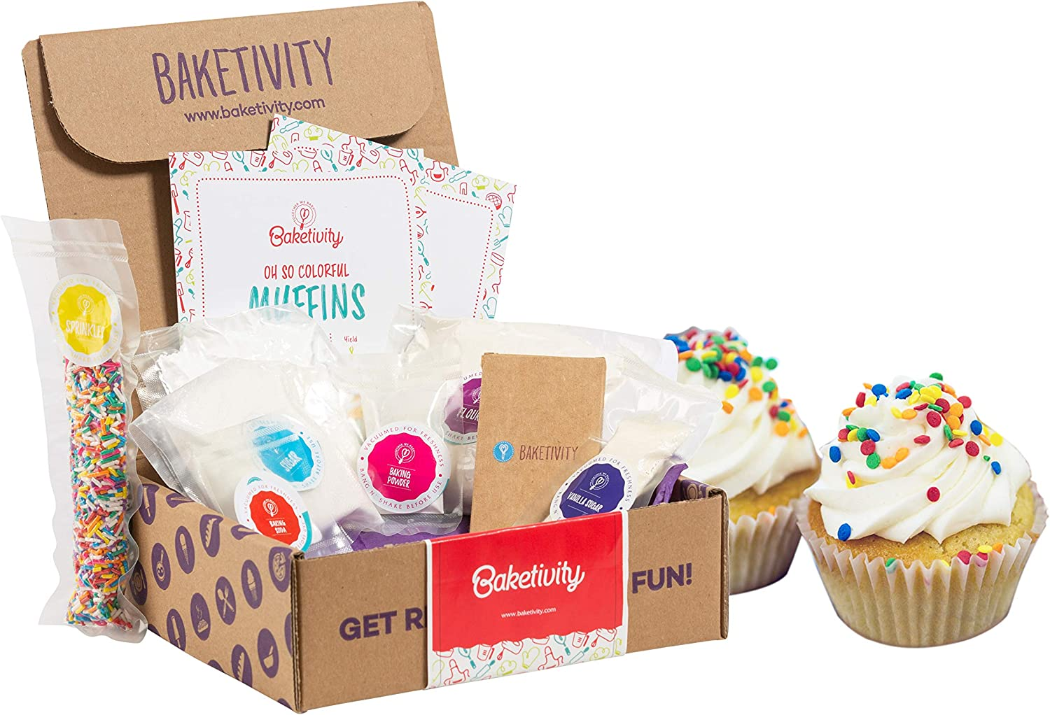 BAKETIVITY Kids Baking DIY Activity Kit - Bake Delicious Funfetti Muffins with Pre-Measured Ingredients – Best Gift Idea for Boys and Girls Ages 6-12
