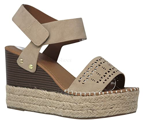 38aaaa528d81 MVE Shoes Women s High Slip On Wedge with Thick Strap Espadille Bottom