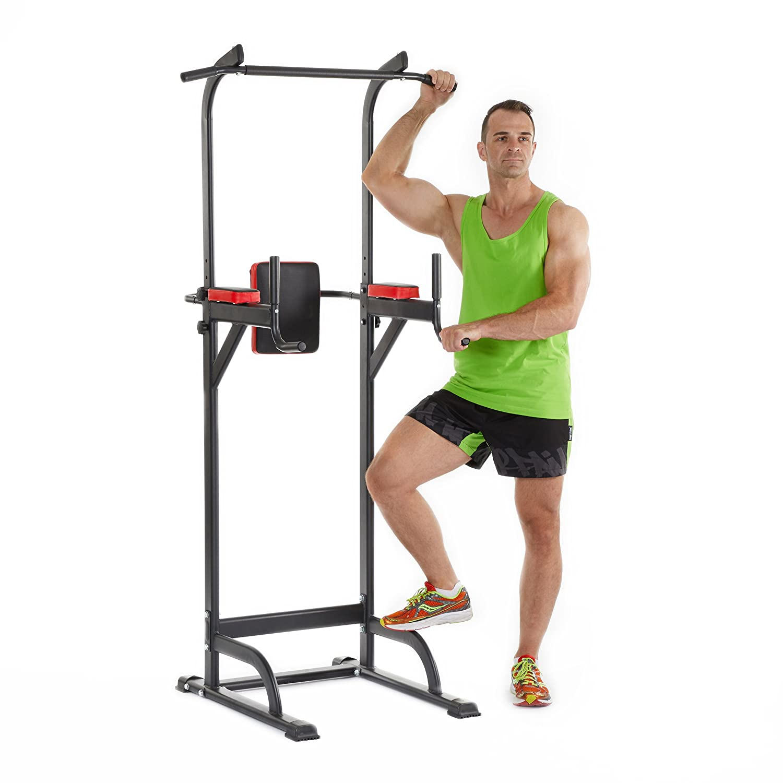 Relaxdays Multiestación Musculación con Altura Ajustable, Metal-Plástico, Rojo y Negro, 230 x 96 x 103 cm 10022601