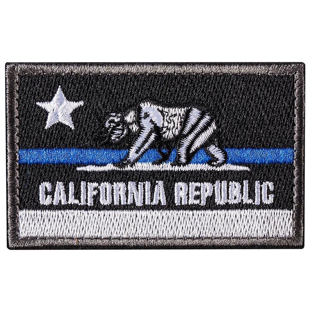 vestes Drapeau de la Californie de l/état de la R/épublique Black BlueLine Insigne de Patch Velcro brod/é coudre sur le chapeau sac /à dos Patch de Morale Tactique de lours CA