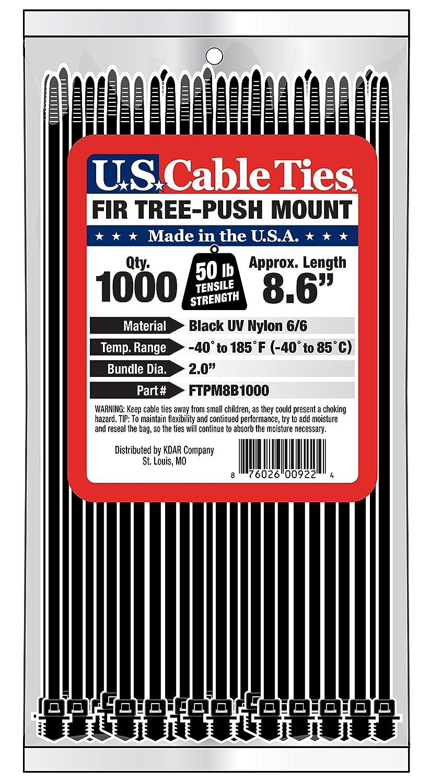 UV Black US Cable Ties FTPM8B1000 8-Inch Fir Tree Push Mount Ties 1000-Pack