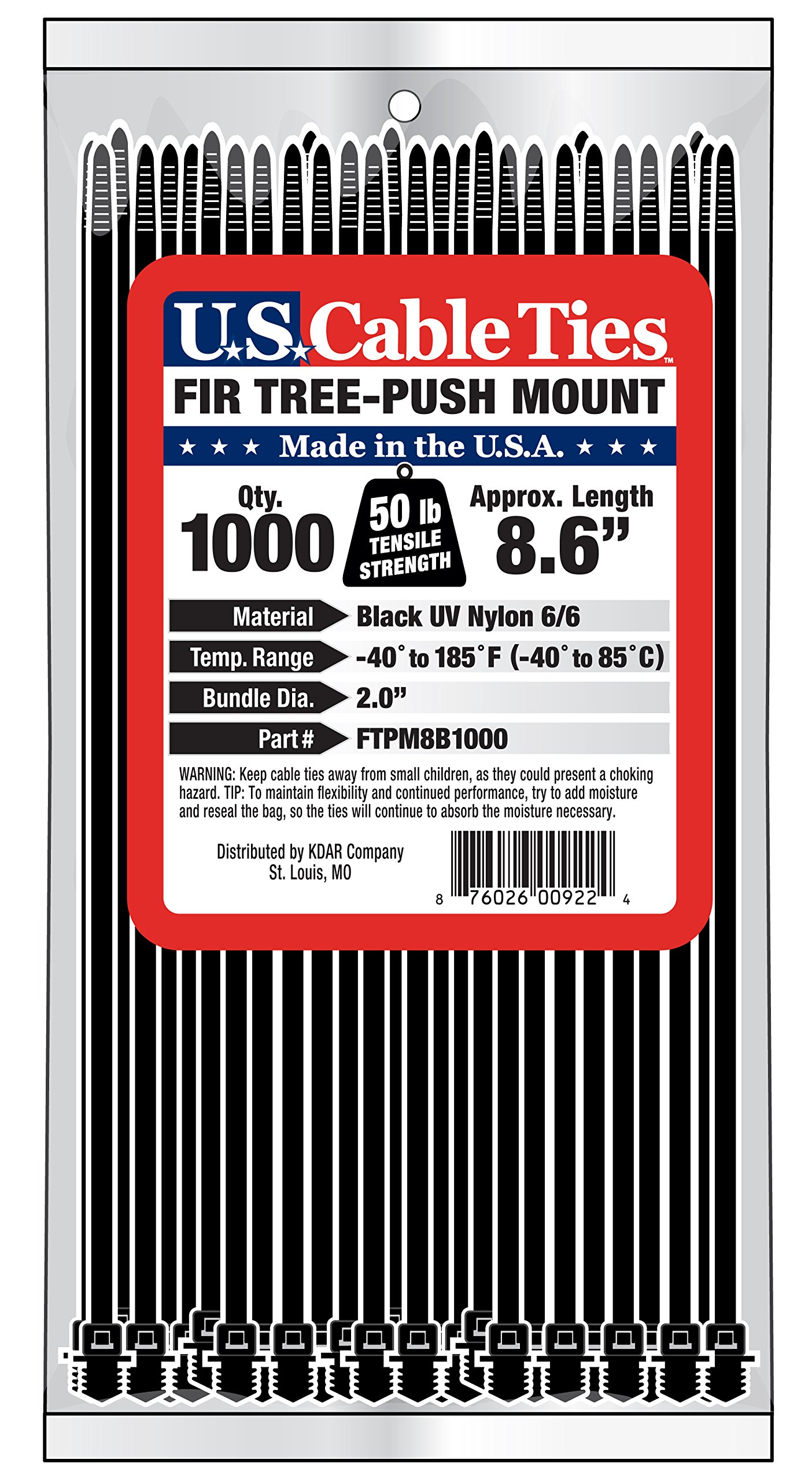 US Cable Ties FTPM8B1000 8-Inch Fir Tree Push Mount Ties, UV Black, 1000-Pack