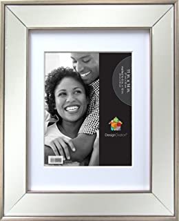 designovation 209164 marina 11x14 matted to 8x10 mirrored silver picture frame