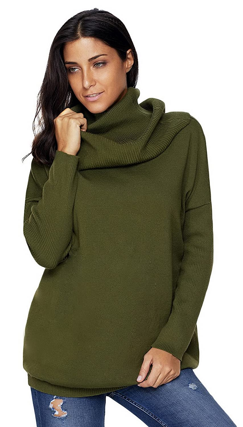 Brcus Women Knit Cowl Neck Pullover Jumper Turtleneck Winter Warm Long Sweater Tops