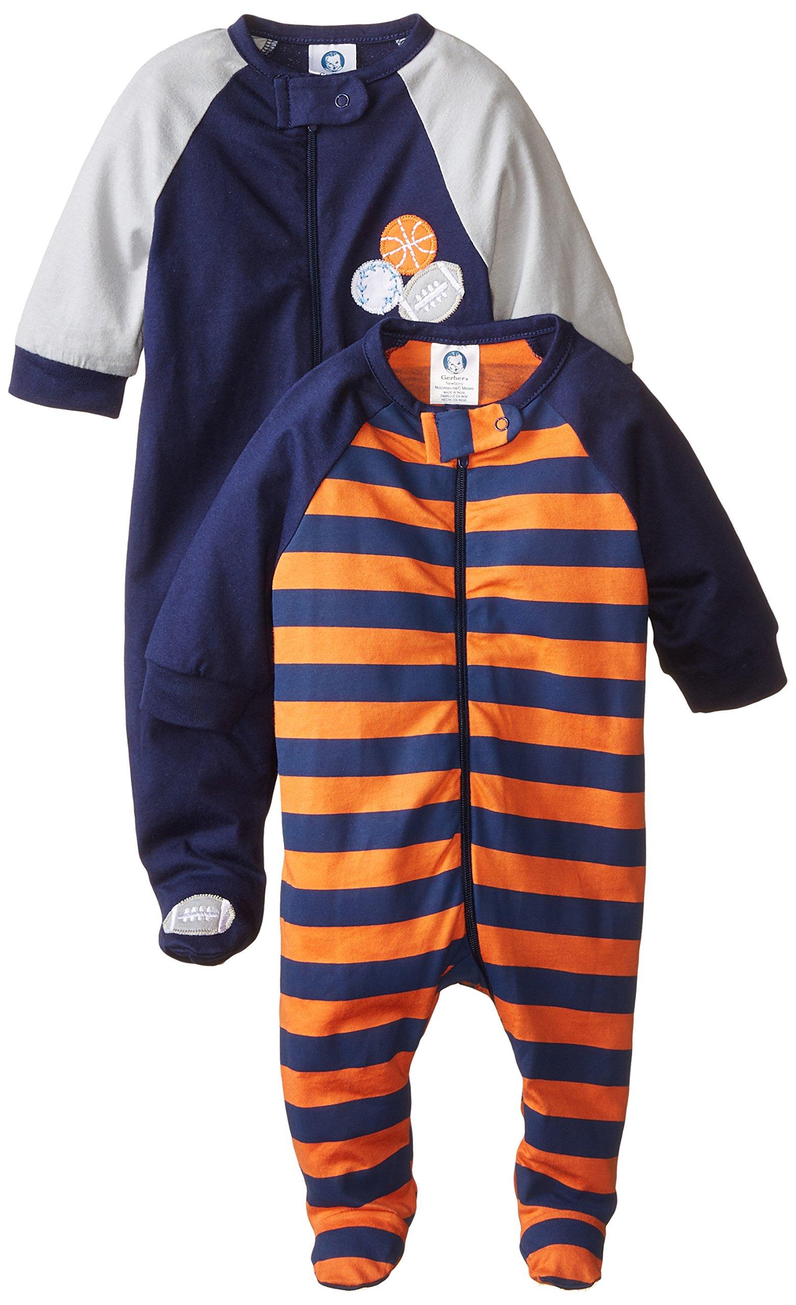 Gerber Baby Boys' 2 Pack Zip Front Sleep 'N Play, Sports, 0-3 Months