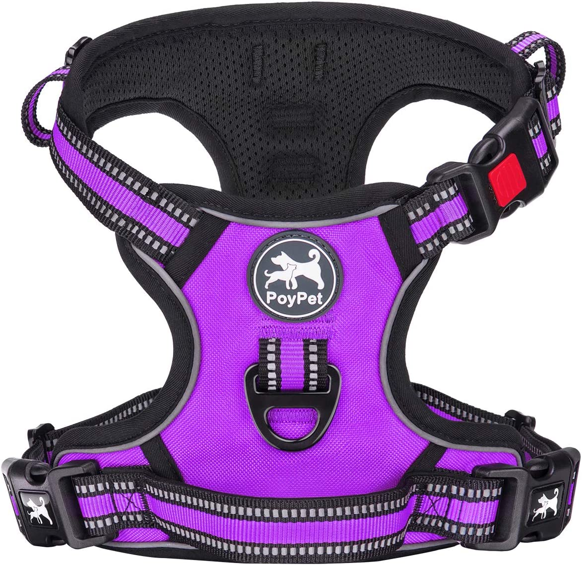 PoyPet No Pull Dog Harness, [Release on Neck] Reflective Adjustable No Choke Pet Vest with Front & Back 2 Leash Attachments, Soft Control Training Handle for Small Medium Large Dogs