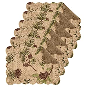 Woodland Retreat 13x19 Quilted Rectangular Placemat Set of 6