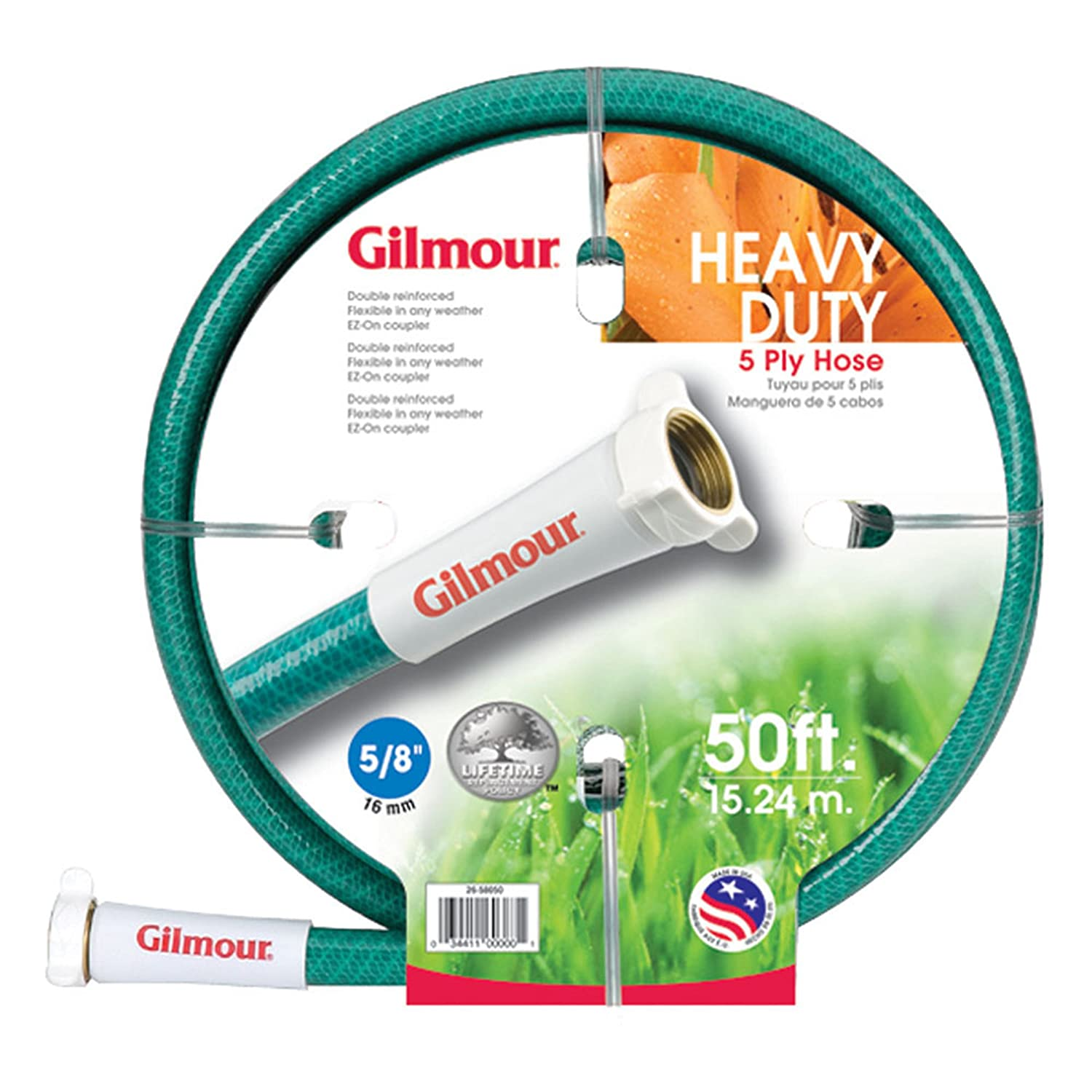Gilmour 26 Series 5 Ply All Seasons Double Reinforced Vinyl Hose 5/8 Inch x 75 Feet 26-58075 Green
