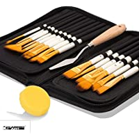 KABEER ART 15 Pcs Paint Brush Set Includes Pop-up Carrying Case with Palette Knife and 1 Sponge for Acrylic, Oil, Watercolor and Gouache Painting