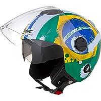 Pro Tork Capacete New Atomic Brasil 60 multicor (Amarelo/Verde/Azul)