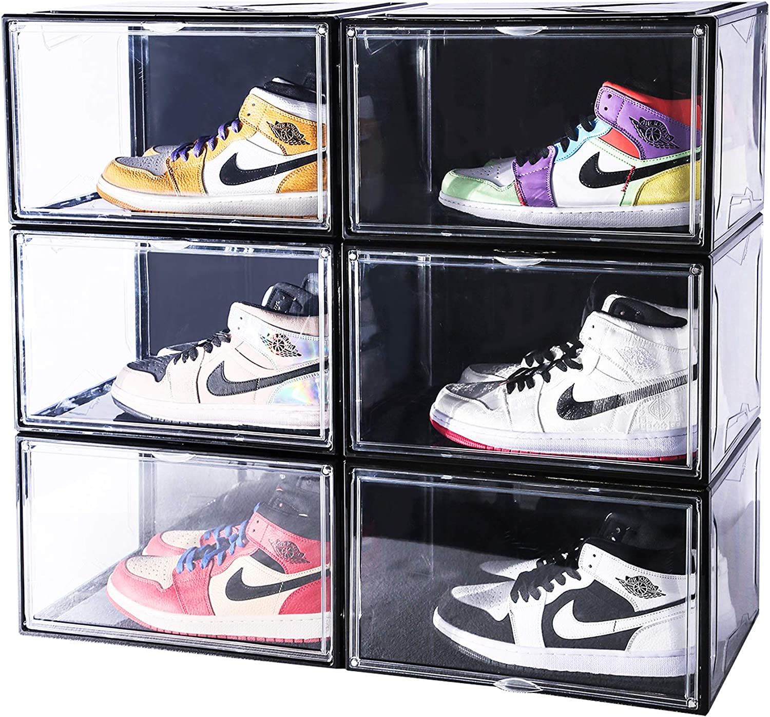 """Montex Stackable Shoe Organizer 6 Pack Super Large, 14.2"""" X 11"""" X 8.7"""" Clear Plastic Shoe Boxes with Magnetic Closure for Display Shoes Sneakers Storage, Black"""