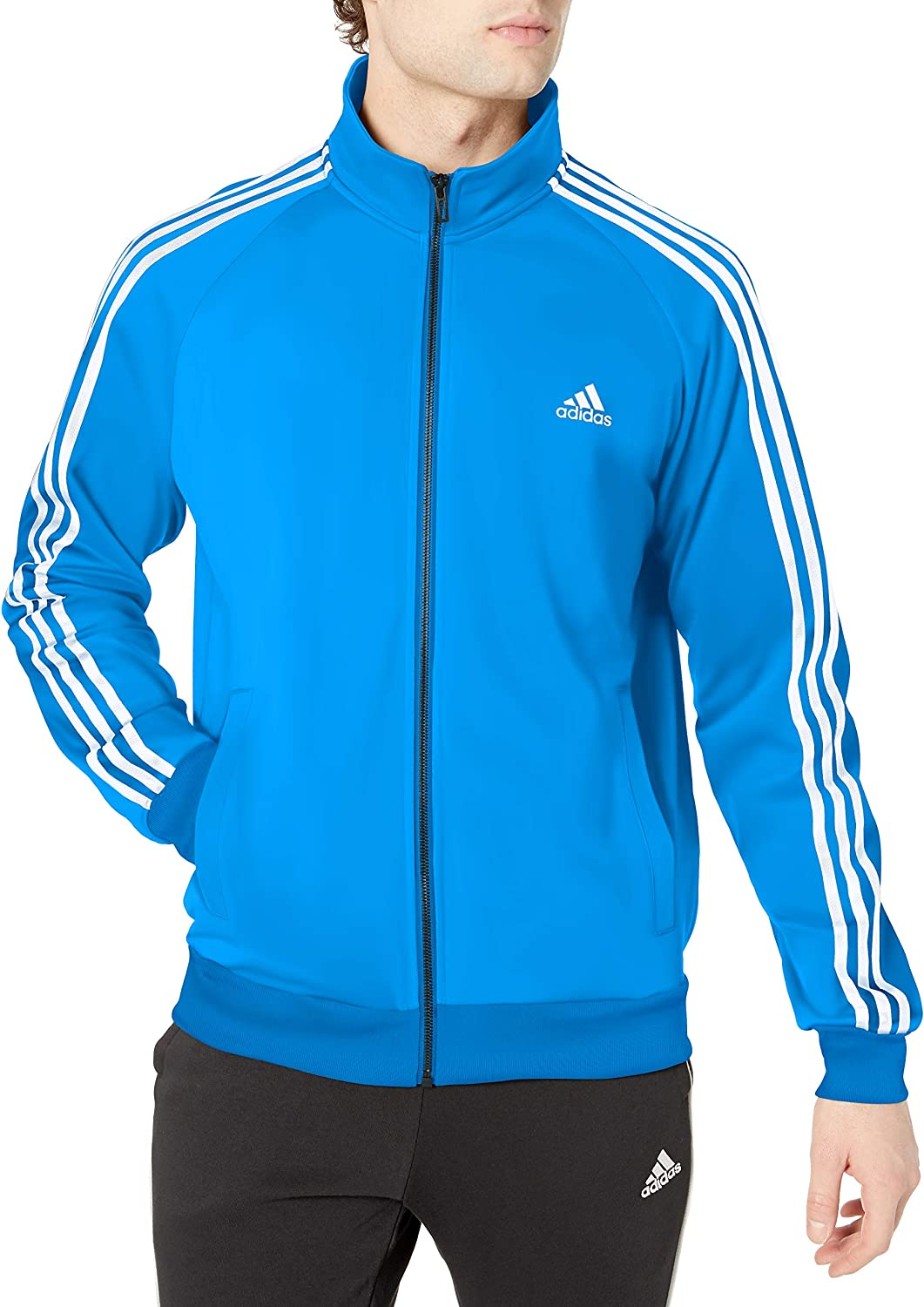 adidas essentials 3 stripes tricot jacket men's