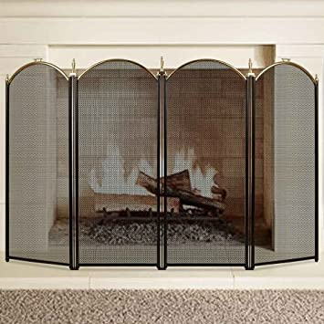 Buy Large Gold Fireplace Screen 4 Panel Ornate Wrought Iron Black Metal Fire Place Standing Gate Decorative Mesh Solid Baby Safe Proof Fence Steel Spark Guard Cover Outdoor Fireplace Tools Accessories: Fireplace Screens - Amazon.com ? FREE DELIVERY possible on eligible purchases