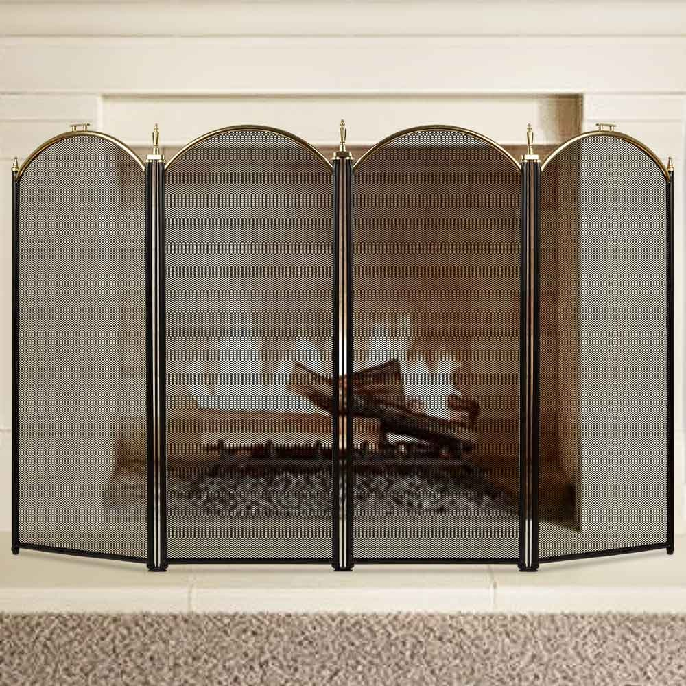 Large Gold Fireplace Screen 4 Panel Ornate Wrought Iron Black Metal Fire Place Standing Gate Decorative Mesh Solid Baby Safe Proof Fence Steel Spark Guard Cover Outdoor Fireplace Tools Accessories