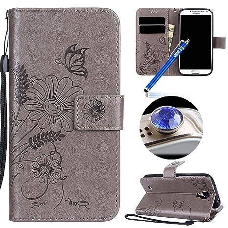 Etsue Kompatibel mit Samsung Galaxy S4 Schutzhülle Handytasche Flip Tasche Case Leder Hülle Schmetterling Blume Luxus Vintage