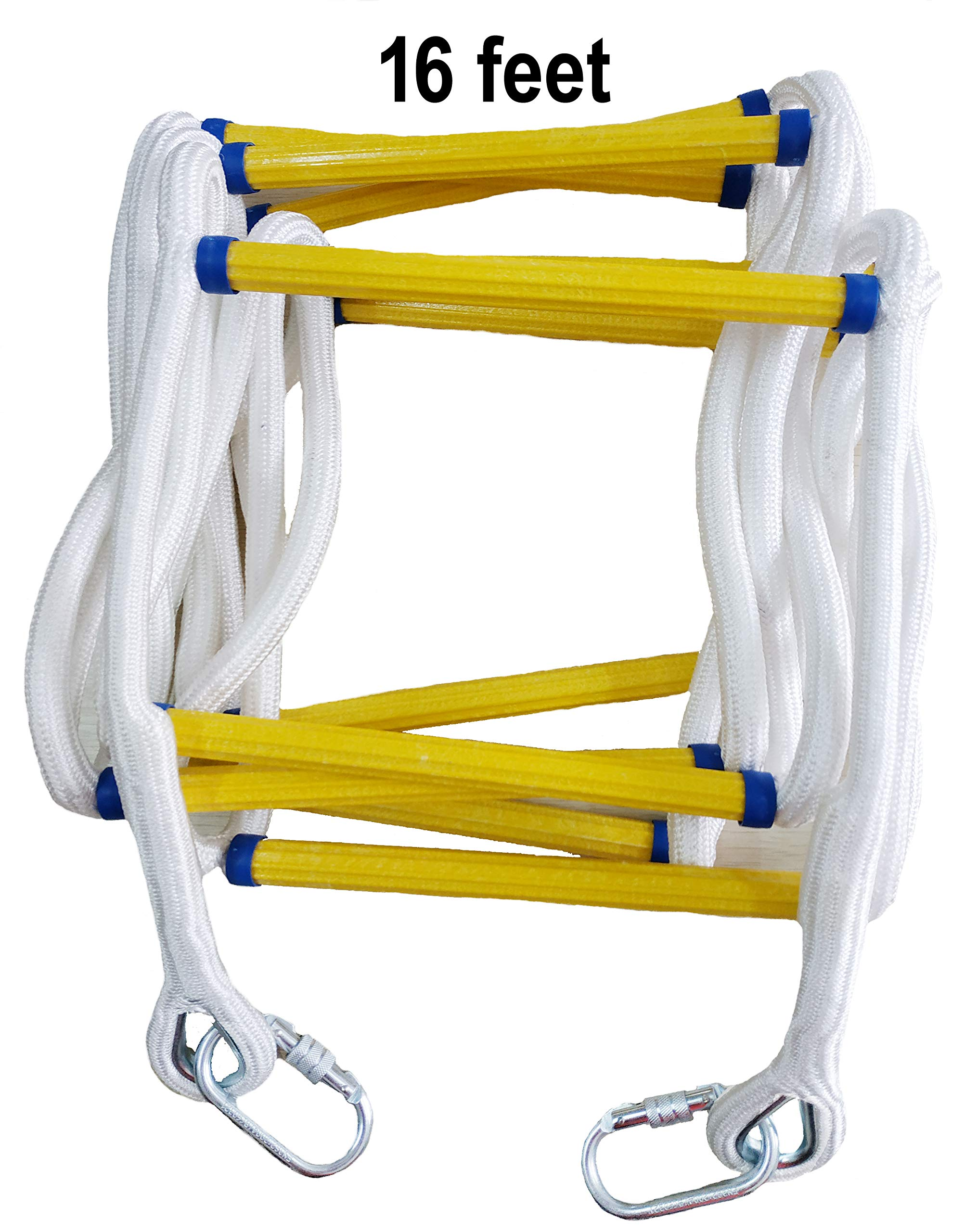 Emergency Fire Escape Rope Ladder 2 Story - 16 feet Solid Flame Resistant Fire Safety Rope Ladder with Carabins - Fast to Deploy & Easy to Use - Compact & Easy to Store -Reusable