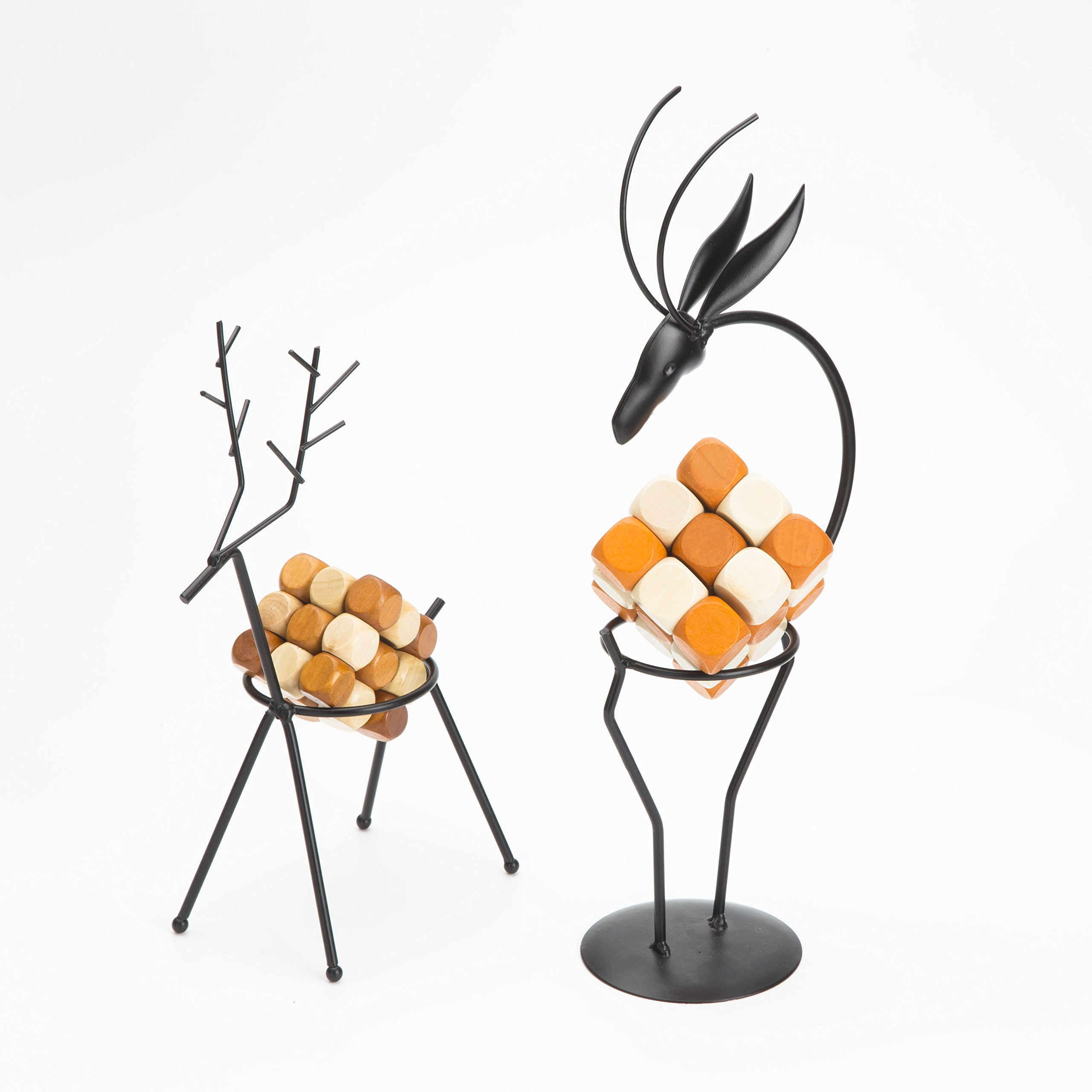 Metal Handicraft Stand Deer with European Elements Minimalist Design ,2 Pieces Deer and 2 Pieces ''Drgon Wagging Tail'' Brain Teaser Toys ,Best Gift for Kids/Adults by Like KongMing (Image #2)