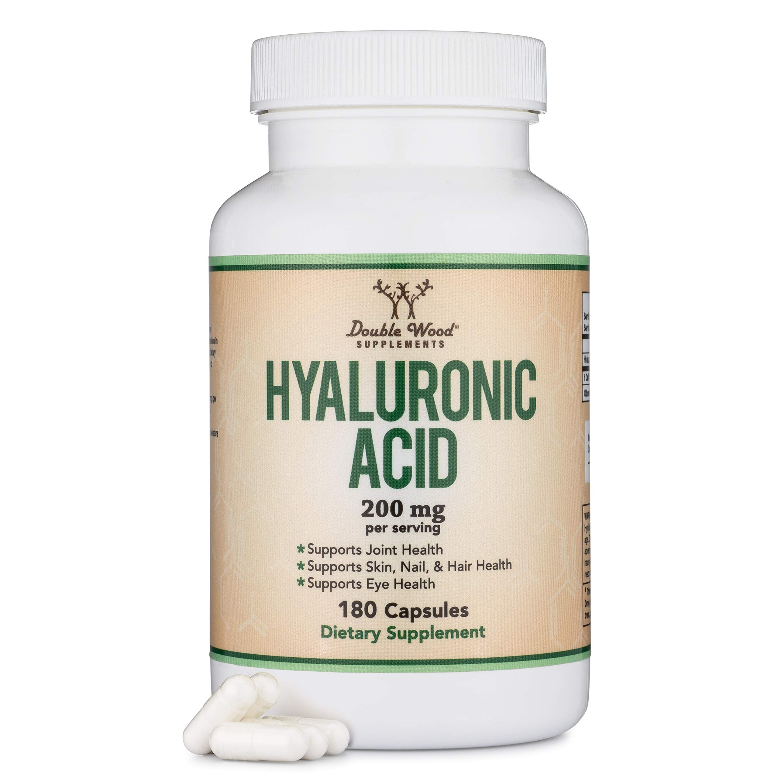 Hyaluronic Acid Supplement -180 Capsules (Enhances Effects of Hyaluronic Acid Serum for Face) 200mg Per Serving for Skin and Face Aging Support by Double Wood Supplements (Acido Hialuronico)