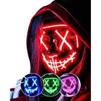 AnanBros Scary LED Halloween Mask, Cosplay Light Up Mask, Hacker Mask for Men Women Kids Red