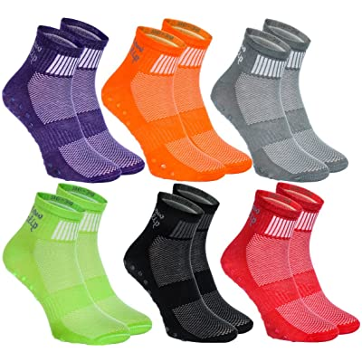 6 pairs of Colorful Non-slip Socks ABS SPORT Yoga Dance Gymnastics Trampolines L