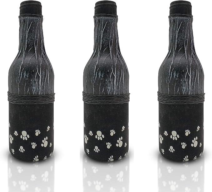 Botellas con suerte - Pack 3 Botellitas de Vino Reservado Decoración Botella Vidrio. Color Negro, de 17 cm de Alto: Amazon.es: Hogar