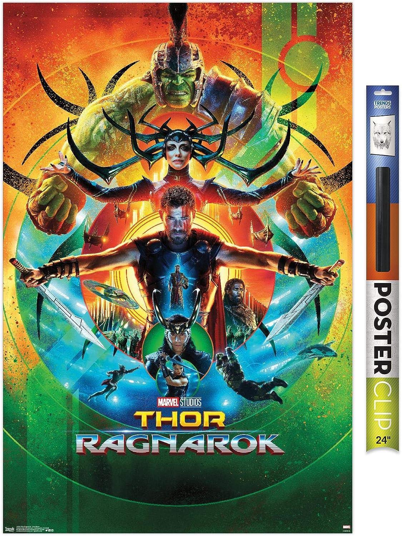 "Trends International Marvel Cinematic Universe - Thor: Ragnarok - One Sheet Wall Poster, 22.375"" x 34"", Premium Poster & Clip Bundle"