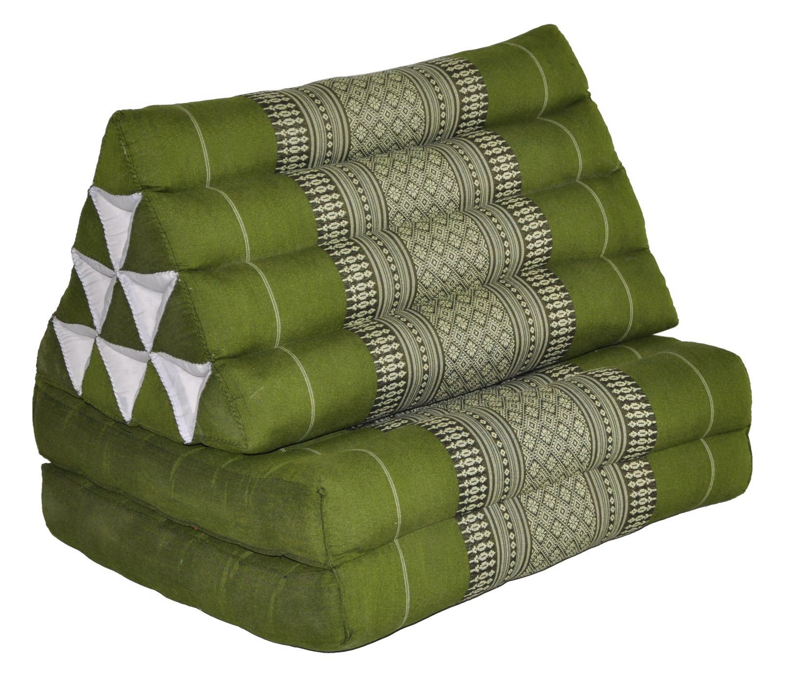 Tungyashop@thai Traditional Cushion Kapok Mattress (Green-white, 2 Fold) by NOINOI