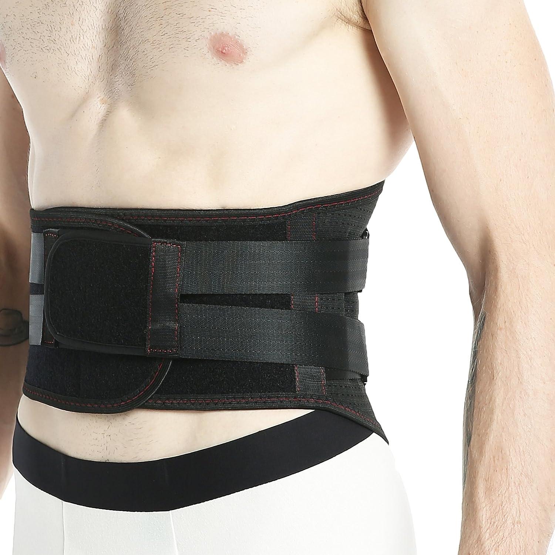 Faja lumbar Neotech Care - Accesorio transpirable y ajustable para el dolor en la parte baja de la espalda - Doble entramado de compresión - Protección para el levantamiento de pesos - Negro - M