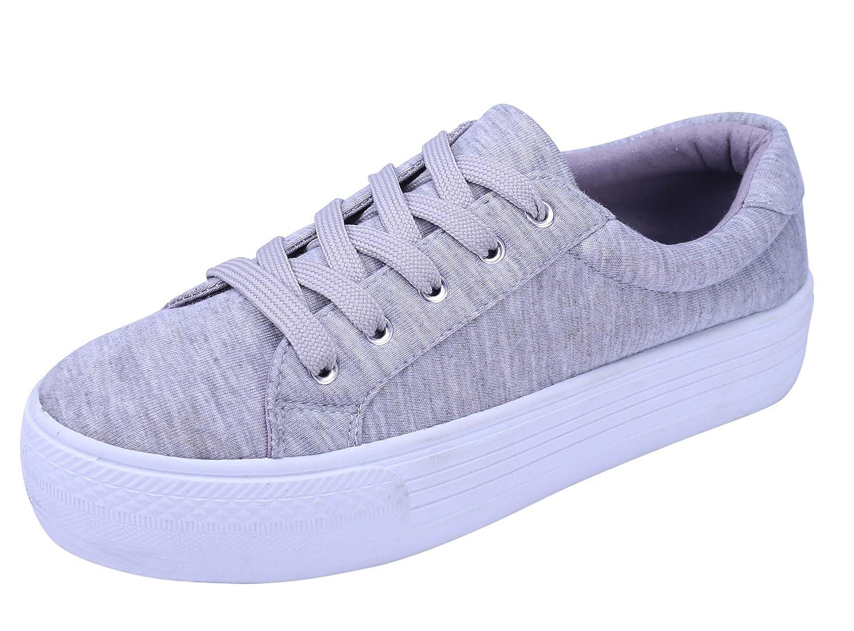 Cambridge Select Women's Lace-up Closed Round Toe Flatform Fashion Sneaker B0798TVYGR 9 B(M) US Grey
