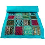 """Tribe Azure Fair Trade Blue Table Runner Cotton 18"""" x 58"""" Hand Embroidered Boho Bohemian Colorful Patchwork Indian…"""