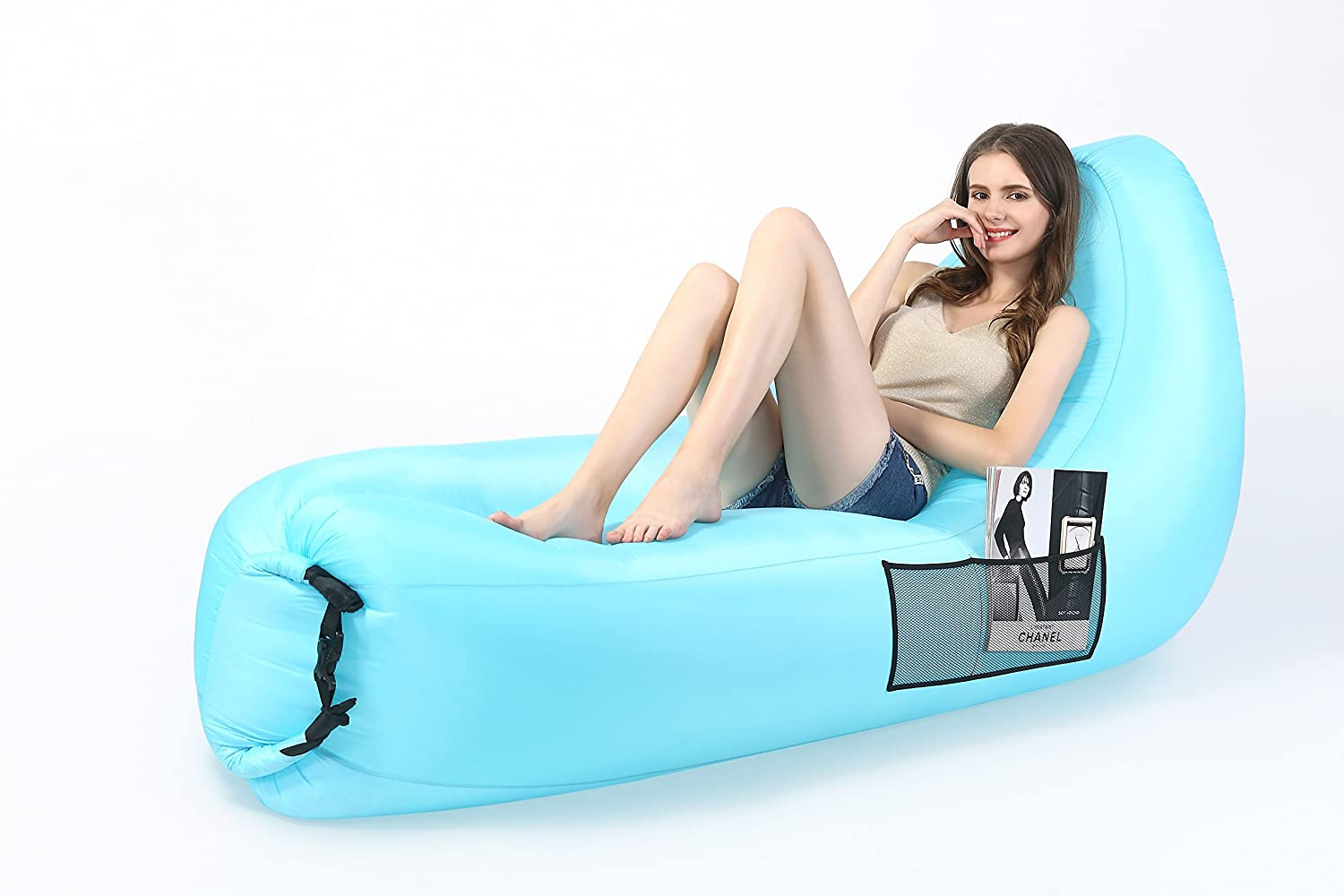 jarferoot Air Inflatable LoungerソファライトブルーAirバッグLounger 210tポリエステル生地のキャンプ、ビーチやプール B0799F45CL
