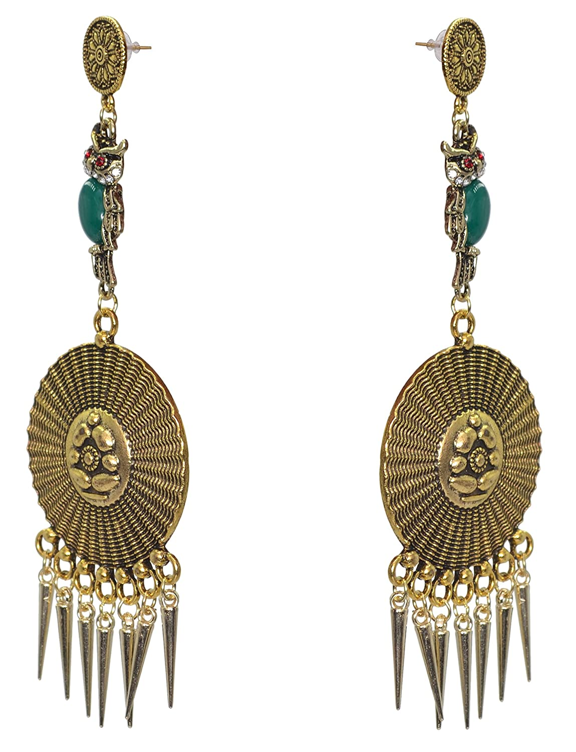 Sansar India Owl Charm Dangler Indian Earrings Jewelry for Girls and Women