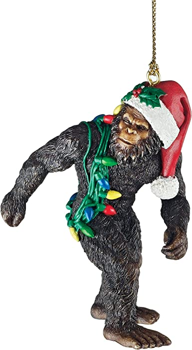 Design Toscano DB383084Bigfoot, the Christmas yeti with Sabta's hat Funny Christmas tree decoration, polyresin, full color, 7.5 cm,Brown