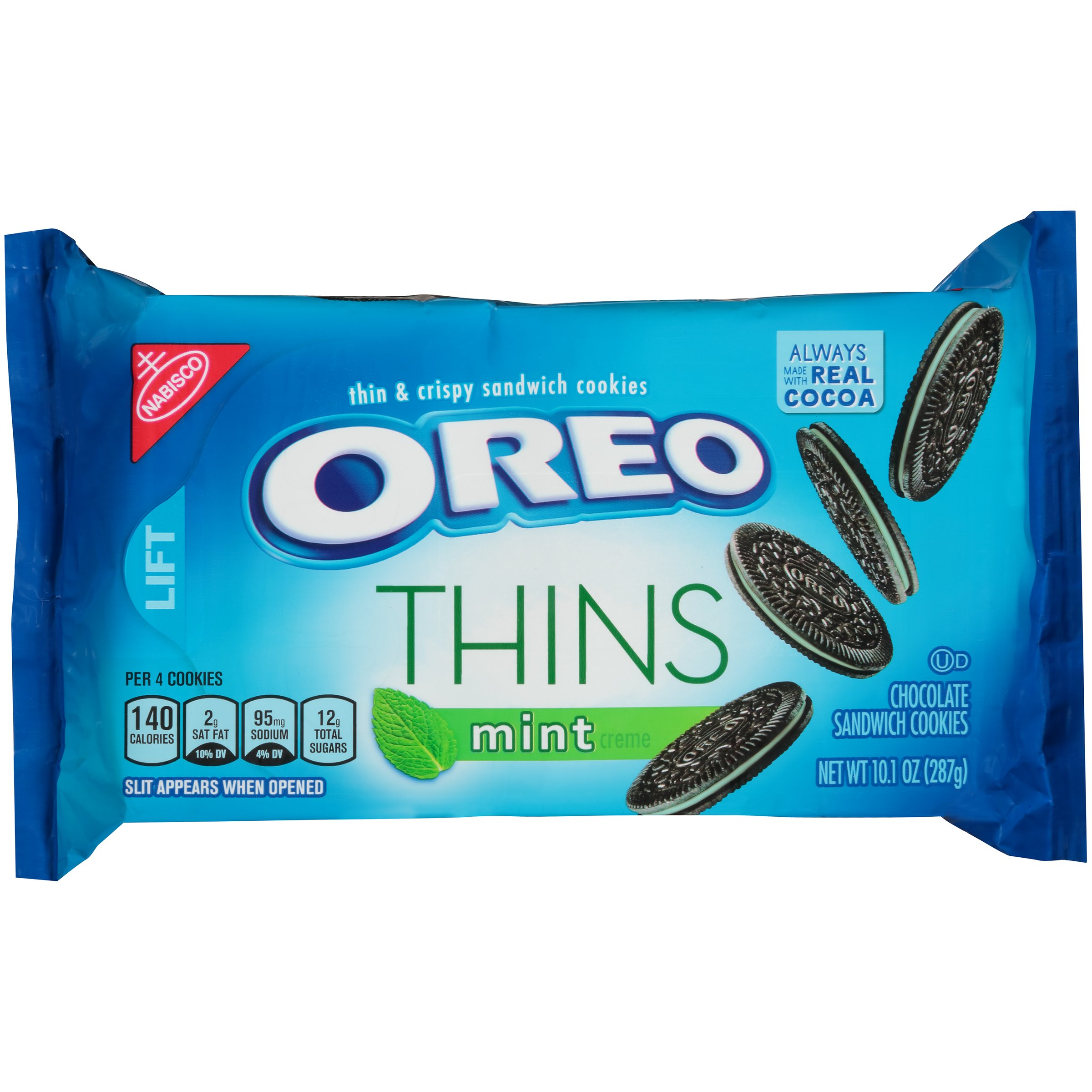 Oreo Thins Mint Creme Chocolate Sandwich Cookies, 10.1 Ounce (Pack of 12)