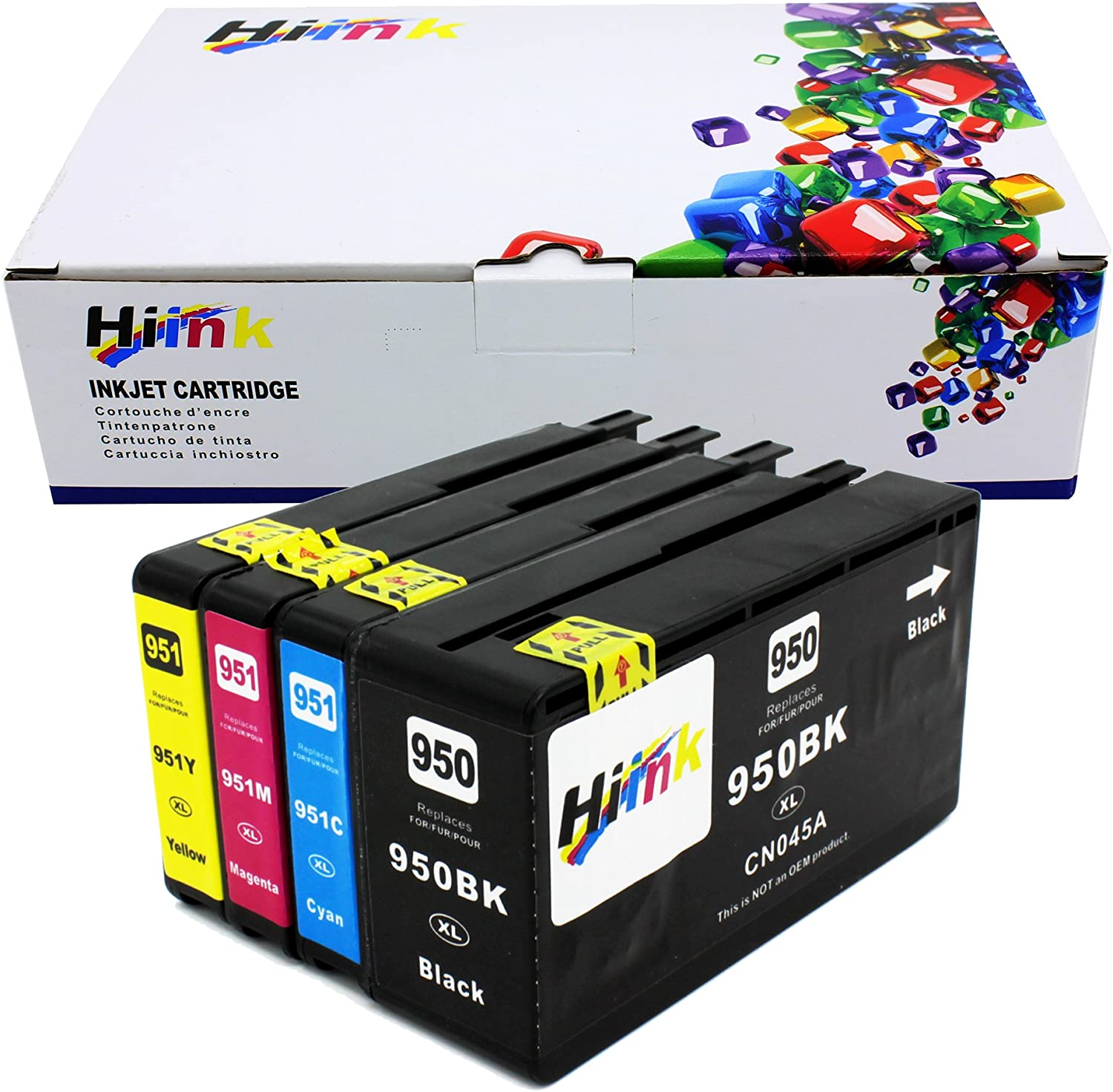 HIINK Compatible Ink Replacement for HP 950 951 950XL 951XL High Yield Ink Cartridges Used in HP OfficeJet Pro 8600 8100 8610 8620 8660 8630 8640 8615 8625 251DW 276DW 271DW (BK, C, M, Y, 4-Pack)