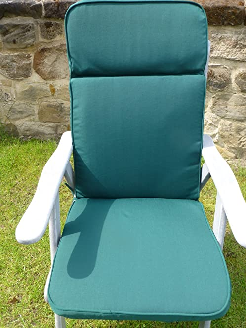 garden furniture cushions green recliner chair cushion 116x48x6cm 3 section headrest seat and back - Garden Furniture Cushions Uk