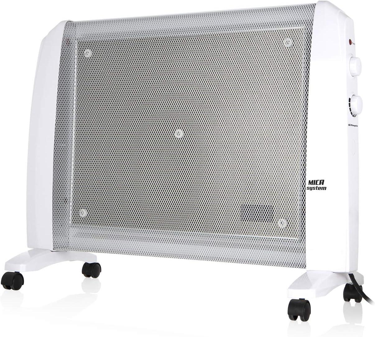 Orbegozo RM 2010 - Radiador de MICA, 2000 W, sistema antivuelco, termostato regulable, no consume oxígeno, protección contra sobrecalentamiento, sin fluido