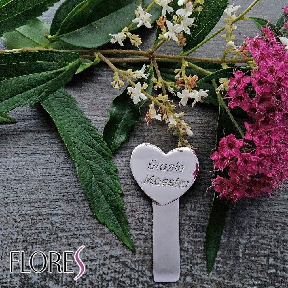 regalo fine anno maestre Flores Segnalibro con incisione Grazie Maestra Argento 925//1000 Idea regalo per le maestre