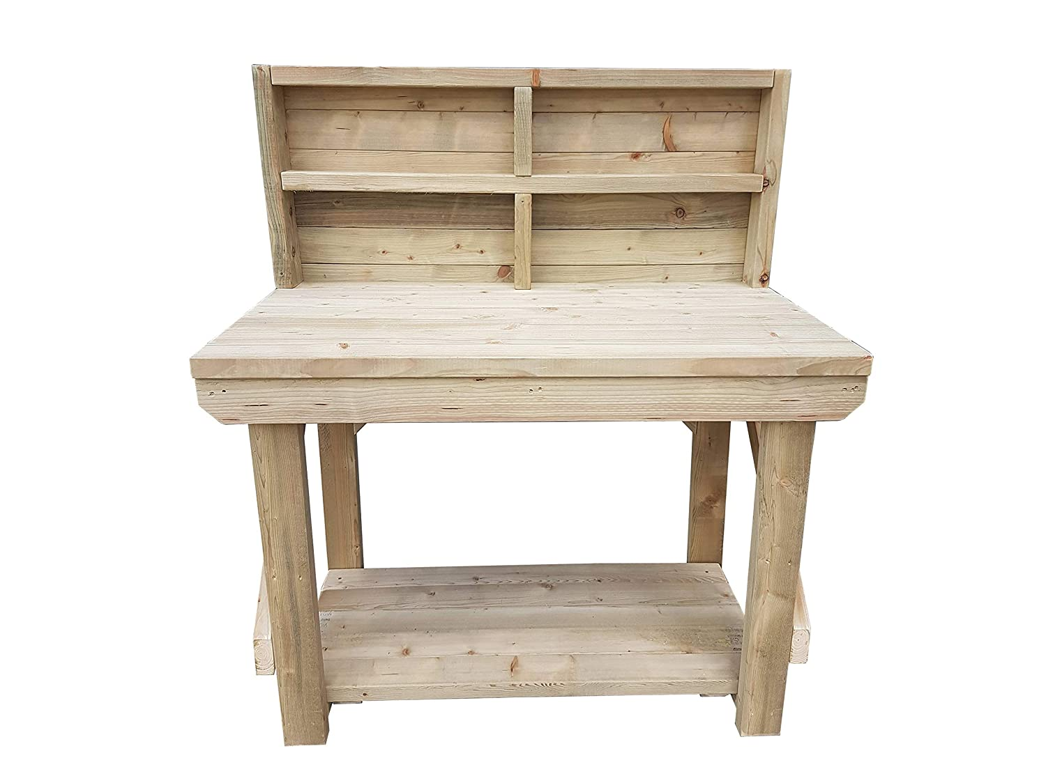 GMS TIMBER LTD Workbench With Back Panel Indoor / Outdoor - Pressure Treated - Heavy Duty - Handmade Garage Workshop Work Table (3FT)