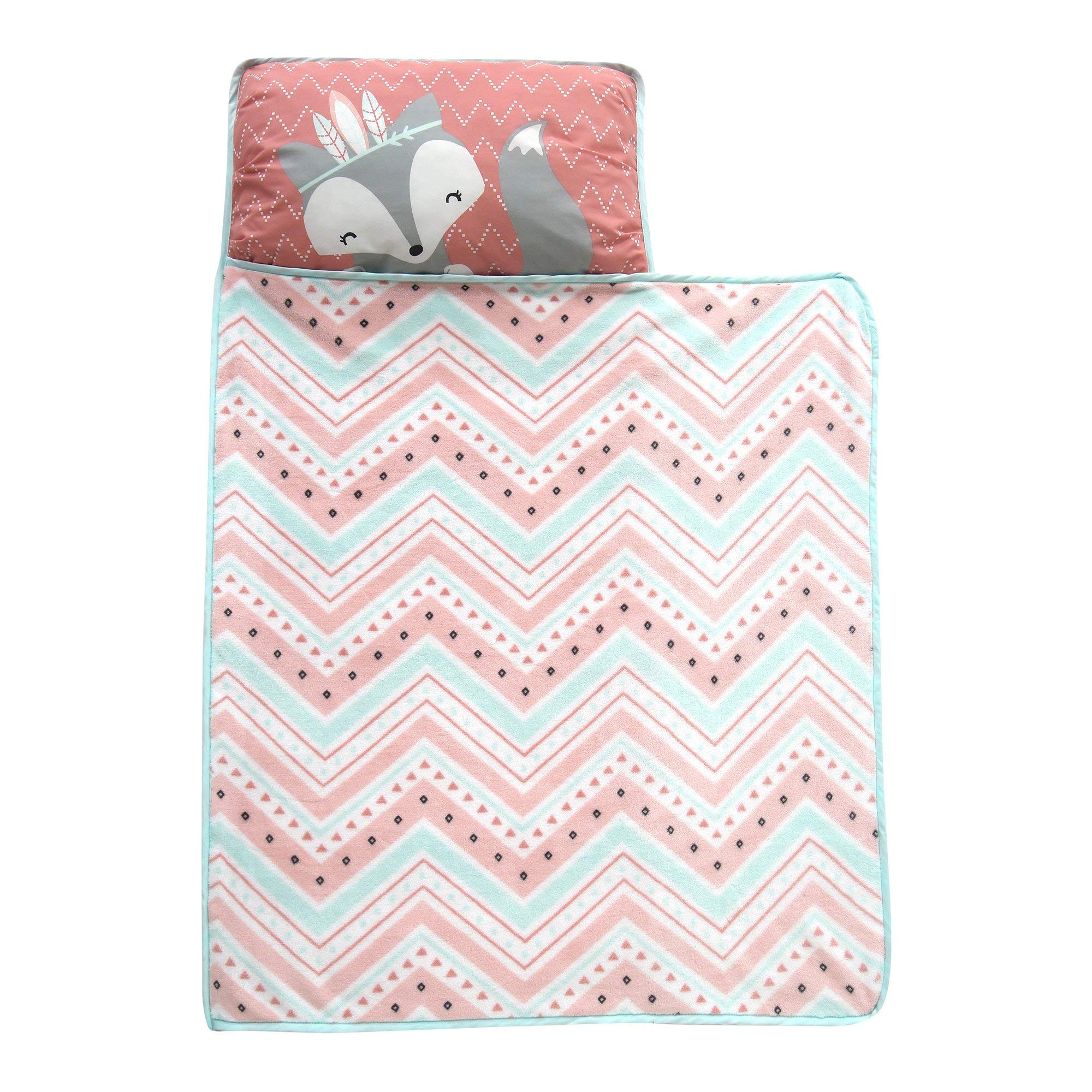 Lambs & Ivy Little Spirit Nap Mat, Coral/Blue/White