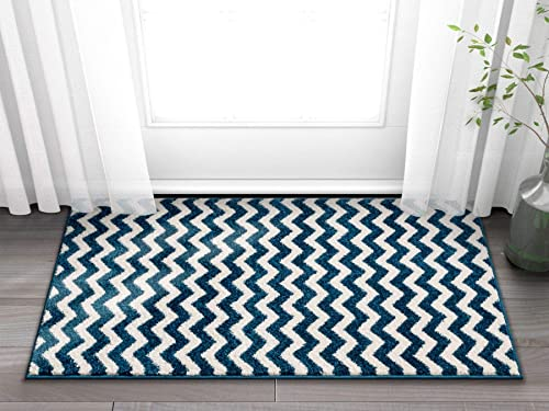 Wandering Chevron Dark Blue Zig Zag Modern Casual Geometric Area Rug 2×4 2 3 x 3 11 Easy Clean Stain Fade Resistant Shed Free Contemporary Abstract Funky Fun Shapes Lines Living Dining Room Rug