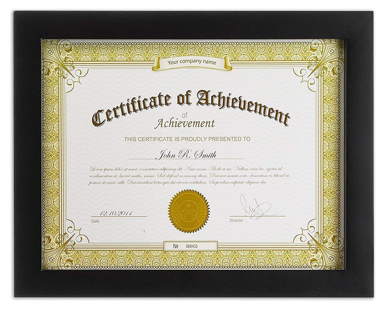 Golden State Art, Wooden Document Frame with Real Glass, Holds 8.5 by 11-Inch Certificate, Black by Golden State Art
