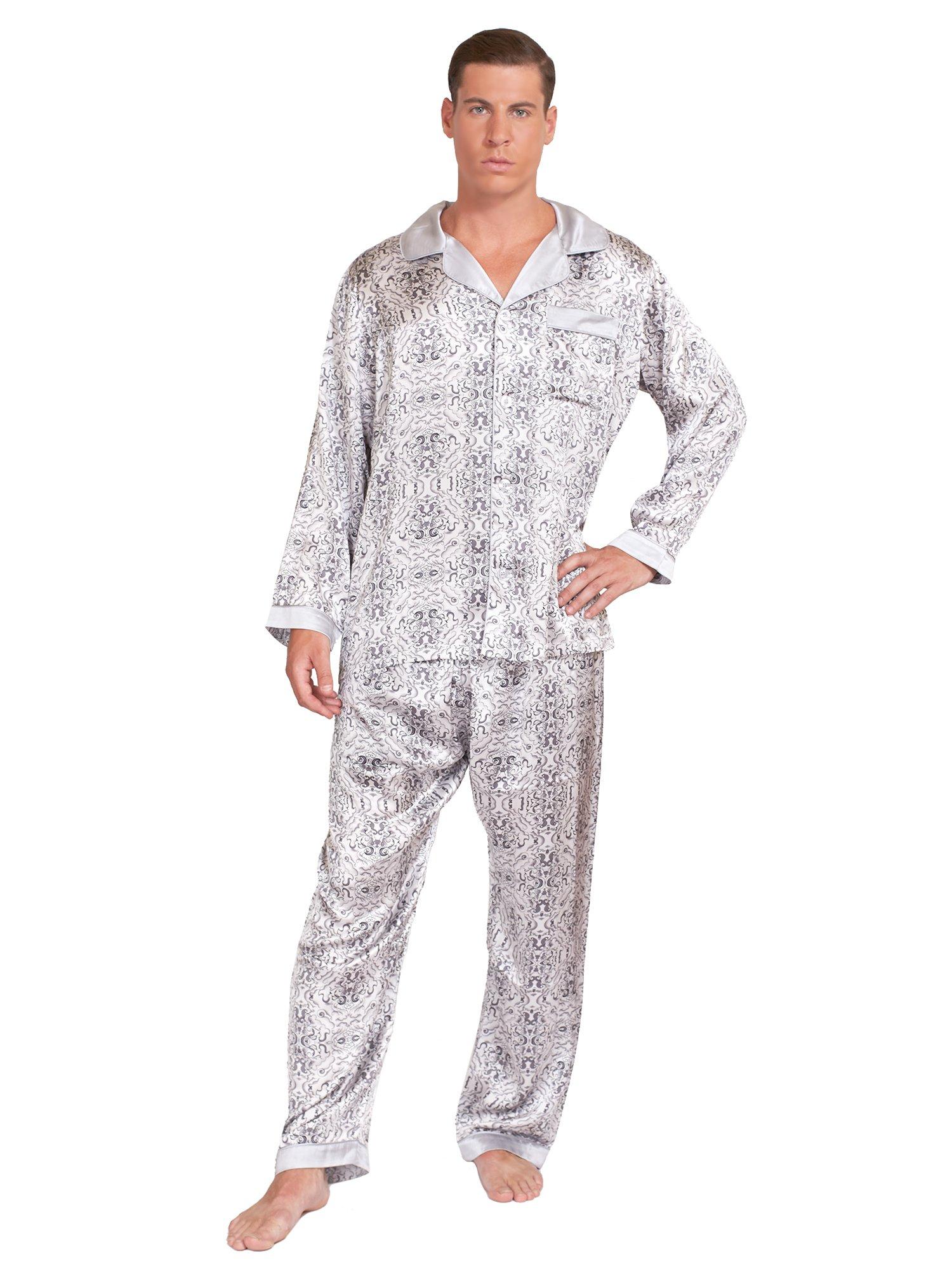 MYK Men's 100% Mulberry Silk Long Pajamas Set (Pajama Shirt & Pants), Classic Silver Prints (Medium)
