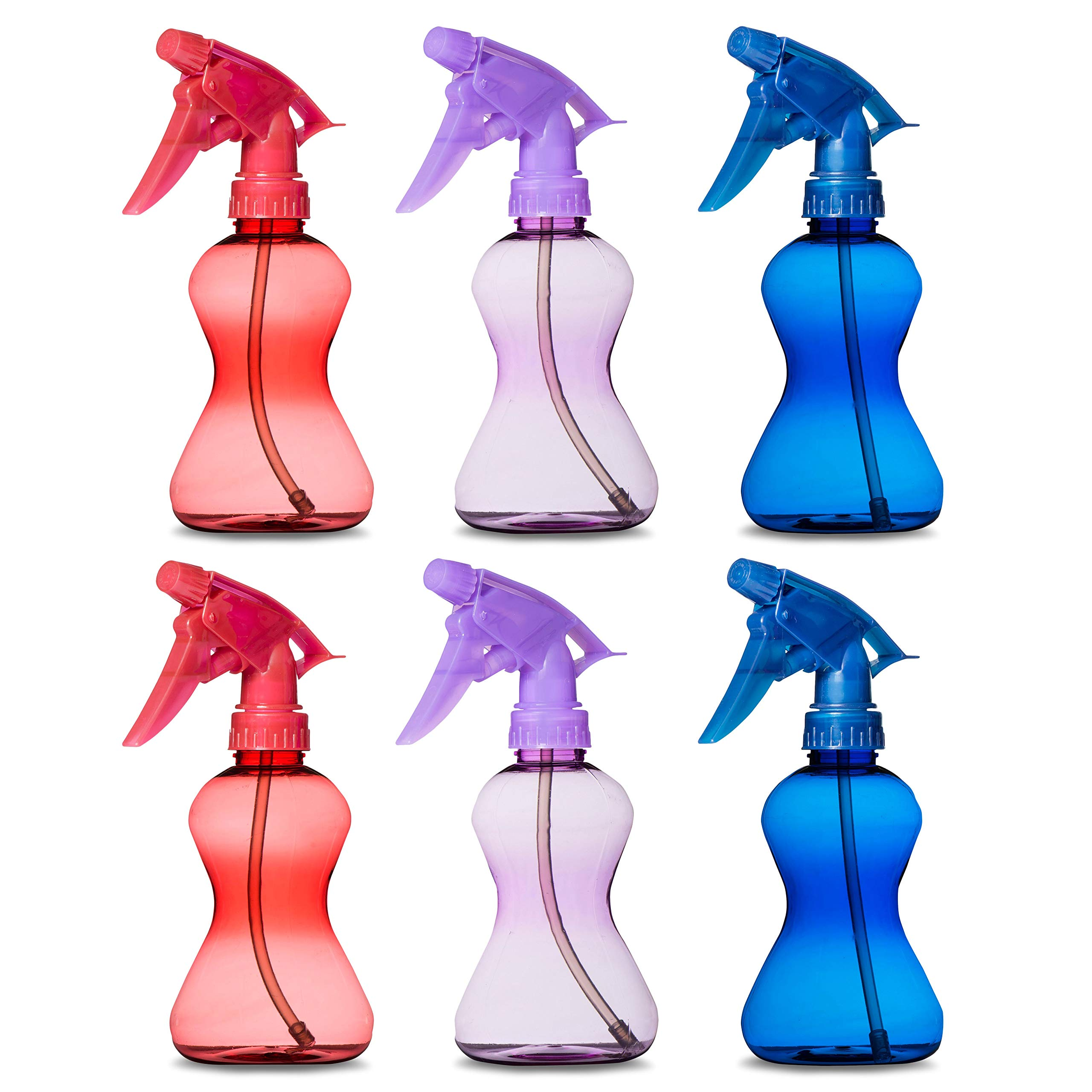 Hammont Plastic Hair Spray Bottles - 10 oz. Plastic Bottle with Adjustable Head Sprayer Value Pack of 6 (2 Blue, 2 red and 2 Purple) by Hammont