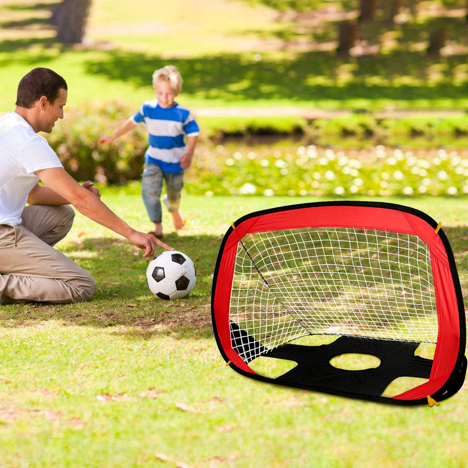 OUTAD Foldable Football Nets/Soccer Goal/Goals Post Football Goal Kids 80*110*80cm 2 in 1 Pop Up Goal and Target Shot for Indoor & Outdoor Play