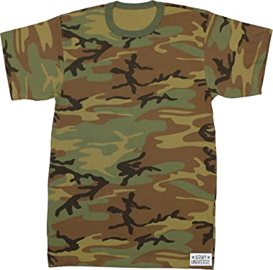 Army Universe Woodland Camouflage Short Sleeve T-Shirt Pin - Size X-Small ( e7655745e1